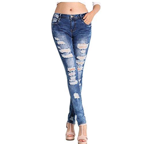 NASKY Mujer Vaqueros Push Up Rotos Ocio Estilo Skinny Jeans De EláSticos Ropa Pantalones (Medium)