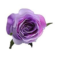 10本 フラワーヘッド ウェディングブーケ フラワー お花 バラの花 造花 髪飾り 衣装飾り ドレスアップ 多色選べる - 紫