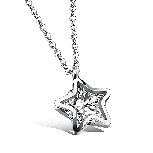 Collar Circón Cinco estrellas Acero titanio Chapado en oro rosa Collar de clavícula femenina Doble clip de estrella de cinco puntos Joyas de diamantes