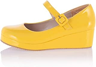 Comfortable and Beautiful Mary Jane Shoes for Women Wedge Heel Square Buckle Patent Rubber Sole Waterproof Platform Candy Color Closed Round Toe wpcwl Shoes jhduej (Color : Yellow, Size : 36 EU)