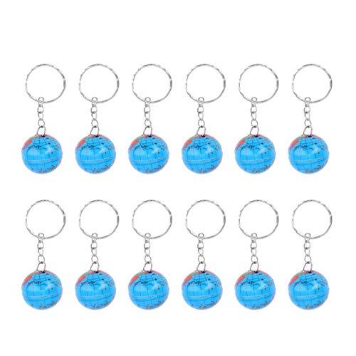 NUOBESTY 12 Stücke Globus Schlüsselanhänger Taschenanhänger Schlüsselbund Geburtstag Geschenk für Kinder Jungen Mädchen Kindergeburtstag Party Mitgebsel Spielzeug