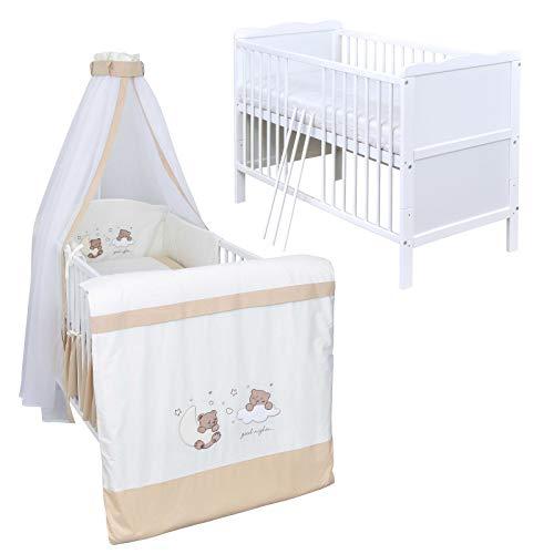 Baby Delux Babybett Komplettbett Kinderbett umbaubar zum Juniorbett weiß 140x70 Bettset Matratze in vielen Designs (Traumland beige)
