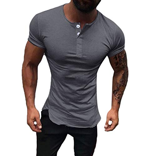 Men's Fashion Round Neck Slim Stretch Short Sleeve,MmNote Gym Muscle Fitness Sports Moisture Wicking Performance T-Shirt Dark Gray