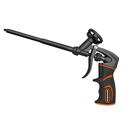 Proteco-Werkzeug® PU-Schaumpistole PTFE antihaft beschichtet Profi-Qualität Montagepistole Einhandbedienung Softgrip