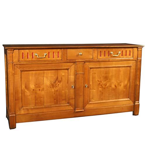 GONTIER - Aparador de 2 puertas de madera maciza de cerezo, color rojo, 100% fabricado en Francia