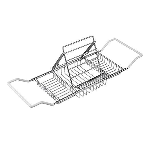 KJLY Estantería de Almacenamiento Acero Inoxidable sobre la bañera Ducha expandible Ducha y bañera Estantes de Almacenamiento de bandejas multifuncionales, 98 * 20 cm / 38.5 × 7.8 Pulgadas