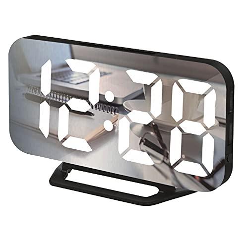 LONXAN Despertador digital, reloj digital LED con pantalla ultrafina y grande, despertador de viaje por USB, espejo portátil, función de repetición, brillo y volumen regulables.