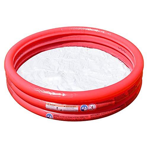 Shopping Hero Planschbecken 122x25cm von Bestway, 3 aufblasbare Ringe, für Kinder ab 2 Jahren , inkl. 100 selbstschließenden Wasserbomben, weicher Boden, für Garten, Balkon, Terrasse (Rot)