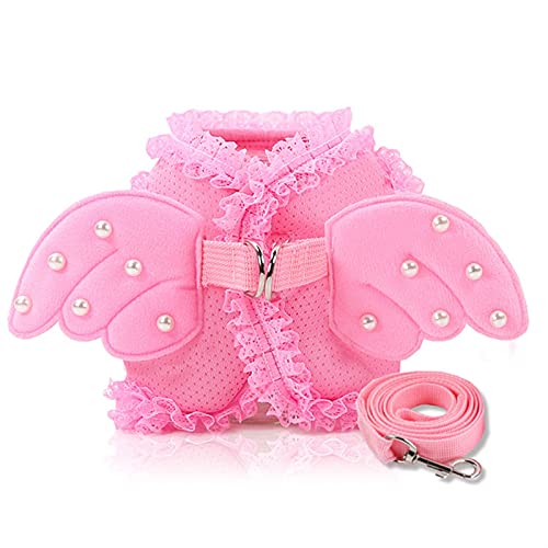 LUBINGT Pet Accessories Small Dog Harness and Leash Set Pet Cat Vest Harness Pearl Cute Angel Wing Princess Pet Dog Harness Leashes Adjustable Leashes (Color : Pink, Size : L)