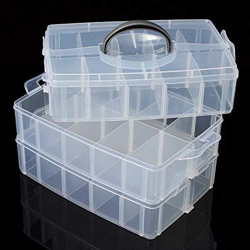 MJJEsports transparant plastic vak opbergdoos 3 laag gereedschap sieraden ambachtelijke kralen organisator case, L, 1
