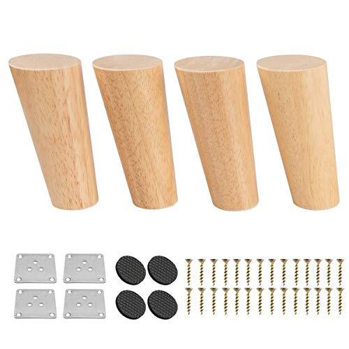 10cm Holz Möbelfüße, Btowin 4 Stück Massivholz Tischbeine Möbelbeine DIY Ersatz mit Montageplatten & Schrauben & für Schrank Sofa Bett Ottomane Couch