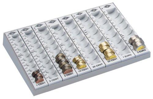 Wedo 160780037 Geld-Zählbrett (mit Metallboden und 8 herausnehmbaren Münzrillen, 27,9 x 18,8 x 4,8 cm) lichtgrau