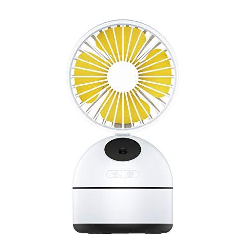 Wind source Humidificador de Escritorio Pequeño Ventilador USB Mute Refrigerador de Oficina Trabajador de Oficina Anciano Portátil Ventilador Portátil 108 * 95 * 203mm (Color : Blanco)
