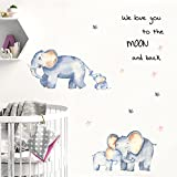 Elephant and Baby Elephant Wall Sticker,Cute Cartoon Animals Wall Decals Removable Peel and Stick Wall Decor for Kids Bedrooms,Play Room,Baby Room,Nursery Classroom (B)
