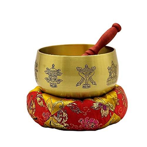 SPNEC LQGSYT Buda Tibetano Cuenco Tibetano Música Campana de Bronce Bronce Canto Yoga Meditación Cuenco de Bronce Regalo