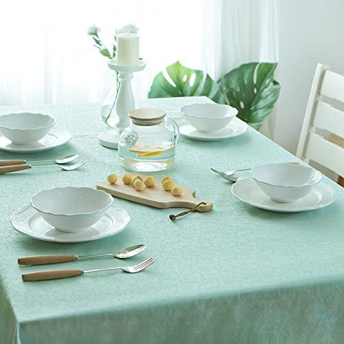 Glory Season Mantel resistente a las manchas, tela jacquard tela resistente al agua/tratamiento a prueba de aceite 55x86 azul rectangular patrón floral decoración rústico mesa para cocina comedor