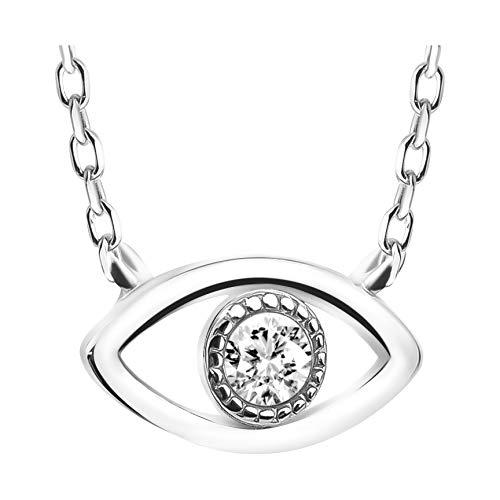 SOFIA MILANI - Collar para mujer con colgante de ojo - Cadena de plata de ley 925 auténtica - con piedra de circonita - 50081