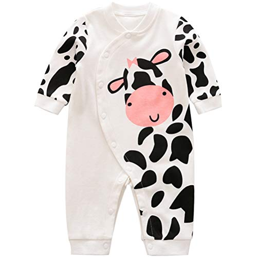 Baby Jungen Mädchen Strampler Kuh Musterdruck Design Baby Süß Langarm Pyjamas Säugling Outfit Overall Schlafanzug Kleidung