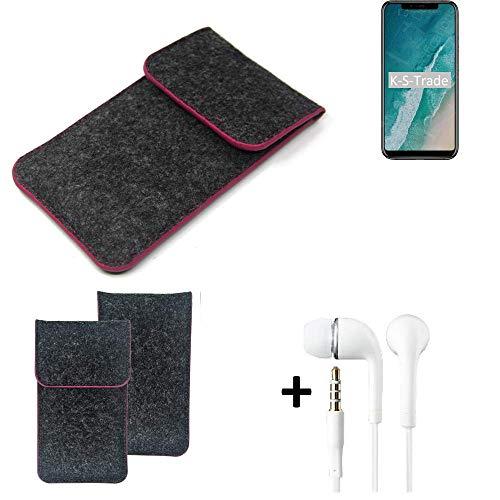 K-S-Trade Handy Schutz Hülle Für Ulefone X Schutzhülle Handyhülle Filztasche Pouch Tasche Case Sleeve Filzhülle Dunkelgrau Rosa Rand + Kopfhörer