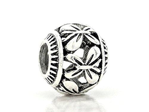 Sterling zilveren armband bedeltje vlinder vleugels ontwerp 4mm maat met paarse gift bag en zwarte bedels doos