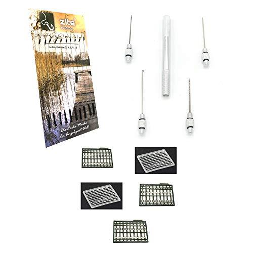 Zite Fishing Karpfen-Zubehör Set Angeln - Boilie-Rigs Vorfächer mit Haken + Boilie-Stopper + Multi Angel-Werkzeug