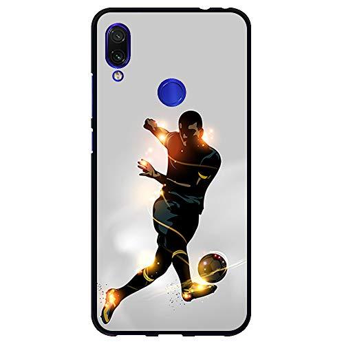BJJ SHOP Funda Negra para [ Xiaomi Redmi 7 ], Carcasa de Silicona Flexible TPU, diseño: Futbolista chutando la Pelota, luz de energia