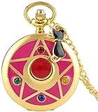 N / A Montre de Poche, Mode Quartz Montre de Poche Cosplay Sailor Moon Star Collier Chat Pendentif Femmes Filles Montre Accessoires