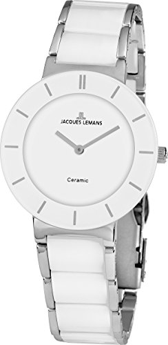 JACQUES LEMANS Damenuhr Monaco Metallband/High-Tech-Ceramic massiv Edelstahl 1-1866B