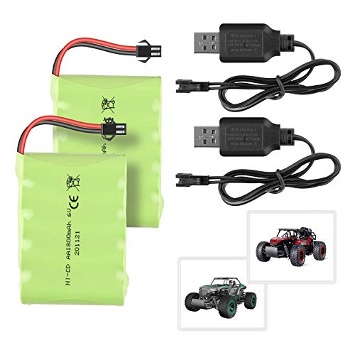 Sirecal 2PCS 6V 1800mAh Batería Ni-CD 5 AA Batería Recargable con Enchufe SM-2P de 2 Pines y Cable de Cargador USB para BEZGAR 17 18 Toy Grade 1:14 Scale RC Car Truck Vehicles