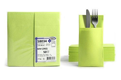 50 Airlaid Besteckservietten fertig gefaltete Servietten mit Schlitz 40x40 cm Stoffähnlich 1/8 Falz Premium Qualität Bestecktasche Hochwertig Stoffoptik Kiwi Grün Limette