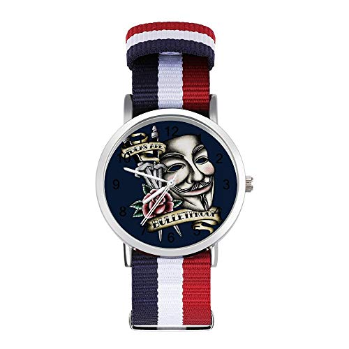 V for Vendetta Maske, traditioneller Tattoo-Stil, Freizeitarmband, geflochtene Uhr mit Skala