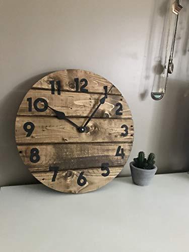 Toll2452 Orologio Moderno Farmhouse in Caldo Caffè Marrone rotondo in legno riciclato orologio da parete country home decor moderno stile rustico