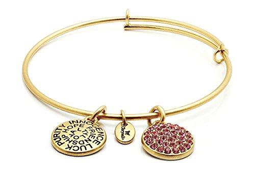 Chrysalis Armreif mit 14 Karat Gelbgold vergoldetes Sterlingsilber mit rundem rosa Turmalin-Kristall im Oktober erweiterbar