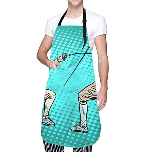 El Delantal Deportivo de esgrima en Espadas para Mujer, Delantal Ajustable Impermeable con Bolsillos, Adecuado para Restaurante, hogar, Cocina, jardín