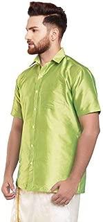 SJS-Men's Half Sleeve Solid Art Silk Shirt (Light Pista Green, 36)