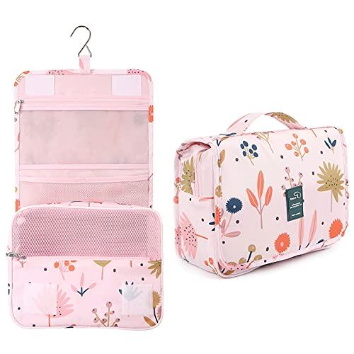 Dizdvizd Bolsas de Aseo para Mujeres y Niñas, Neceser de Viaje con Colgar Gancho, Impermeable Organizador de Cosméticos - Floral