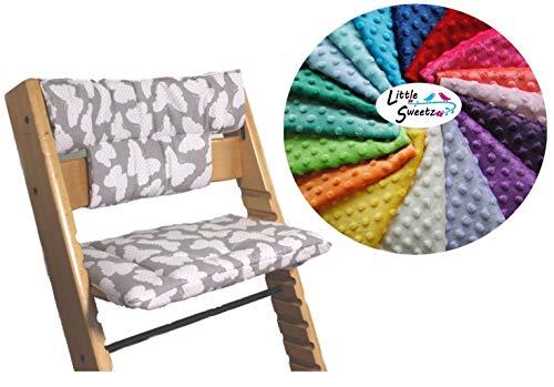 Little Sweetz TRIPP TRAPP Set MINKY DOTS ** Zitkussen/stoelverkleiner voor hoge stoel - compatibel met Tray Table - veel motieven! lichtblauw