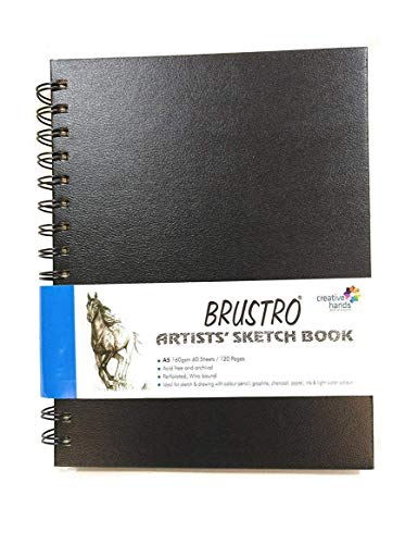 Brustro Artists Wiro Bound Sketch Book, A5 Size, 120 Pages, 160 GSM (Acid Free)