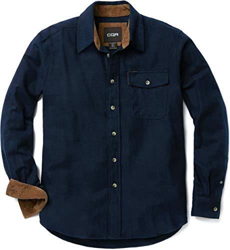 CQR ネルシャツ メンズ カジュアル 長袖 シャツ 男女兼用 アウトドア 登山 ゴルフウェア アメカジ メンズ HOF113-NVY_XS