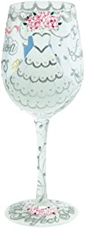 Enesco Designs by Lolita Bride Artisan Made Hand Painted Wine Glass, Wedding Dress, 15 oz