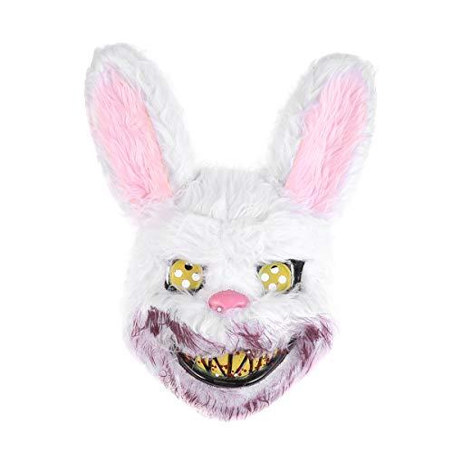 Amosfun Hasenmaske Gruselmaske Blutige Hasenmaske Halloween Gruselmaske Maskerade Maske Party Maske Cosplay Maske Maskerade Zubehör