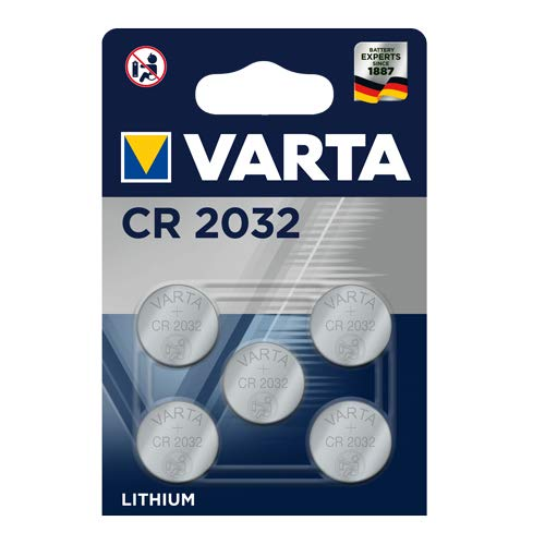 VARTA CR2032 Lithium Knopfzellen 3V Batterie in Original Blisterverpackung, 5er Pack