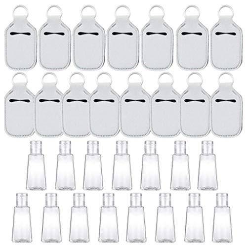 Juego de 15 llaveros reutilizables de 30 ml con desinfectante vacío, rellenable, botella de viaje, jabón de mano, llavero de metal con cierre de langosta para manualidades