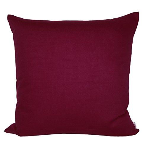 beties Farbenspiel Kissenhülle ca. 45x45 cm in interessanter Größen- und Farbauswahl 100% Baumwolle für eine fröhlich Stimmung Uni Farbe (Hibiskus-Beere)