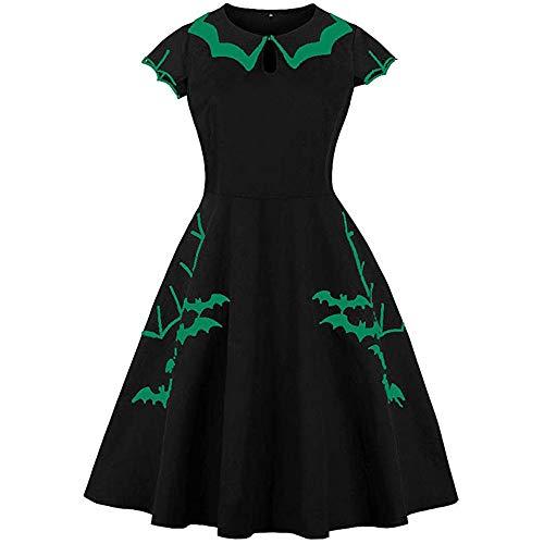Generice - Vestido retro para mujer, diseño de murciélago de Halloween