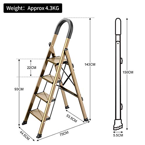 Lightweight Aluminum 4 Step Ladder Folding Step Stool Stepladders with Anti-Slip and Wide Pedal for Home and Kitchen Use Space Saving (Brown Gold)