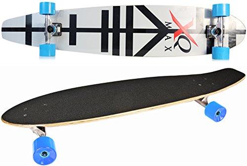 Nick and Ben Long Board Skate-Board Black Stripes 116cm 7-lagen esdoorn compleet Board Black High Speed kogellagers zachte wielen 80A hardheid 100 kg belastbaar Skater Cruiser