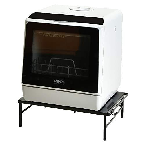 アイネクスAINX工事がいらない食器洗い乾燥機AX-S3Wホワイト(MONOGALLERY限定伸縮食洗機ラックタワーブラックセット)