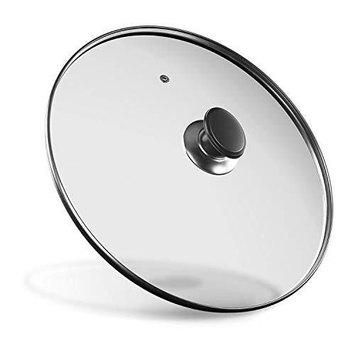 Glasdeckel Universal Kochtopfdeckel Pfannendeckel aus Glas mit dem Griff und Entlüftungsloch Ø 24cm Deckel für Bratpfanne Eisenpfanne Topf