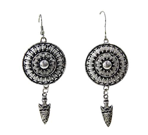 New Women's Silver Aztec Style Earrings with Discs and Arrowheads Earrings, Fashion, Party, Occasion, Everyday Style